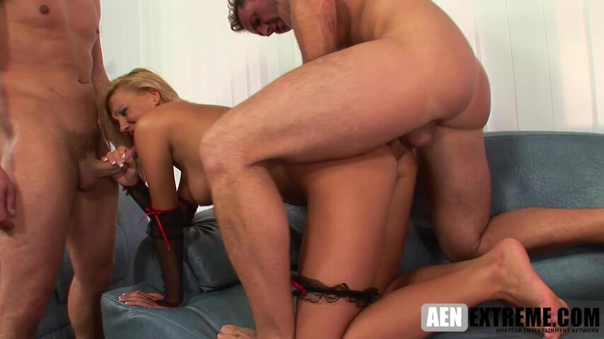 Blonde pornstar Alishia double penetrated on a Sunday afternoon