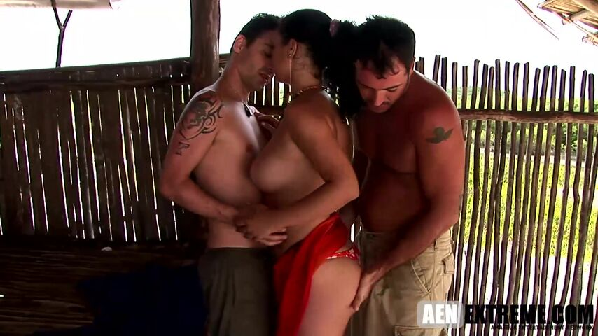 Zafira And Monaliza get their holes penetrated by two hung studs