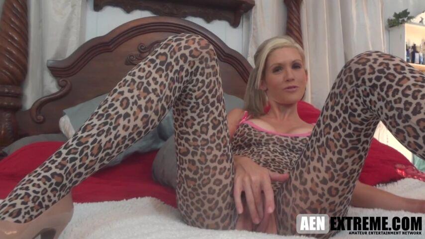 MILF Jolene Angel sex toy and blowjob fun in a leopard bodysuit
